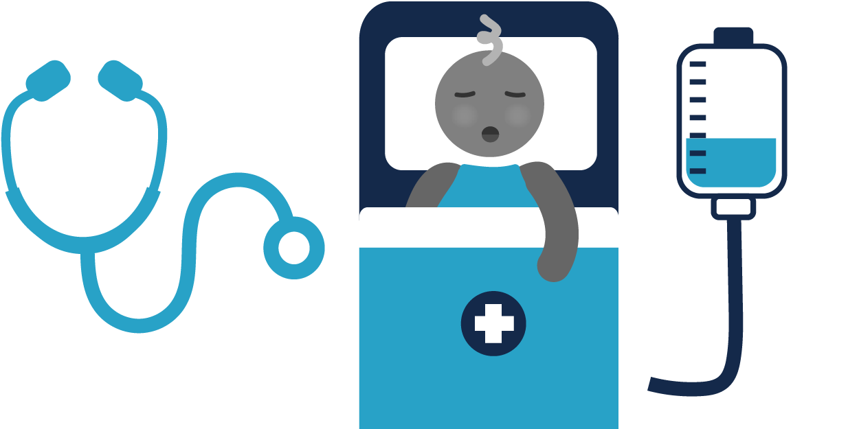 Illustration of sick child in hospital bed, hooked up to fluids and image of stethoscope