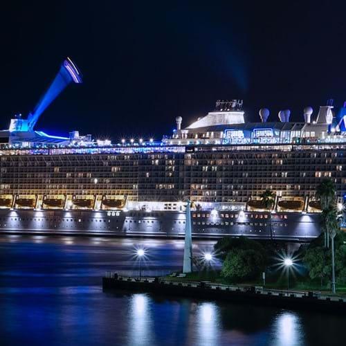 Cruise ship in the dark