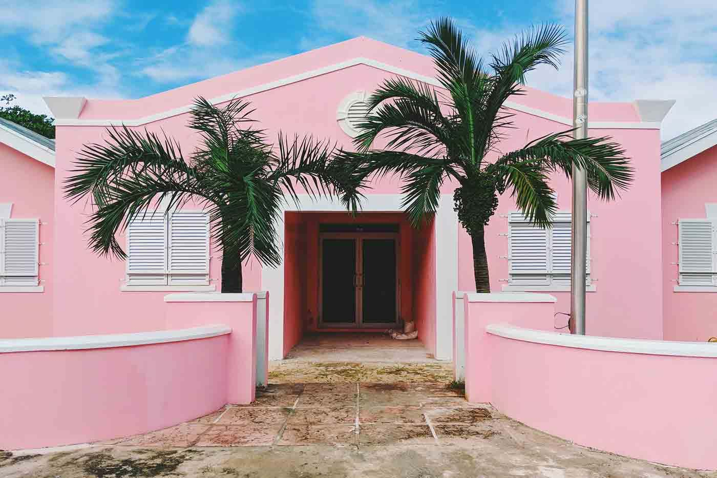 Doorway of a pink house, flanked by palm trees