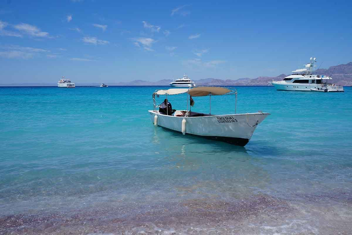Photo of boat on beach in Isla San Francisco, Baja California Sur, Mexico
