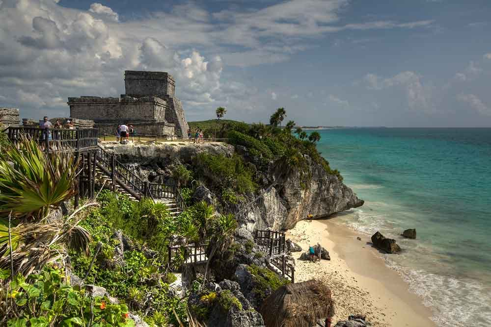 Photo of beach coast line and historic ruins in Tulum, Quintana Roo, Mexico