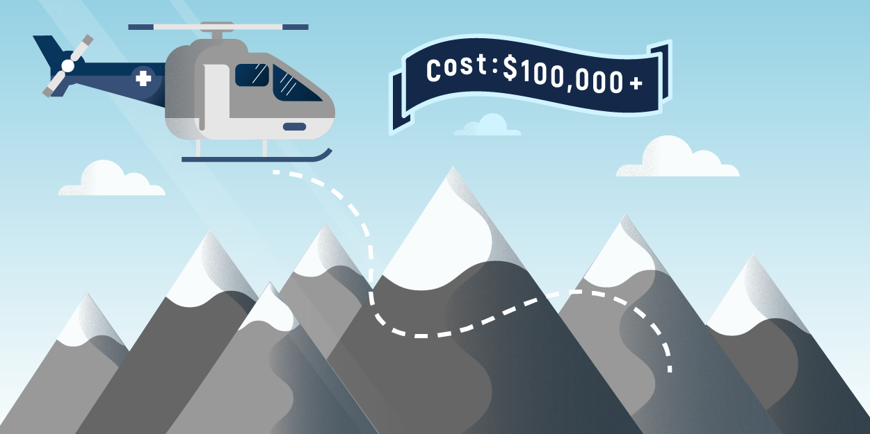 "Illustration of emergency medical helicopter flying over mountain range with banner saying, ""Cost: $100,000"""