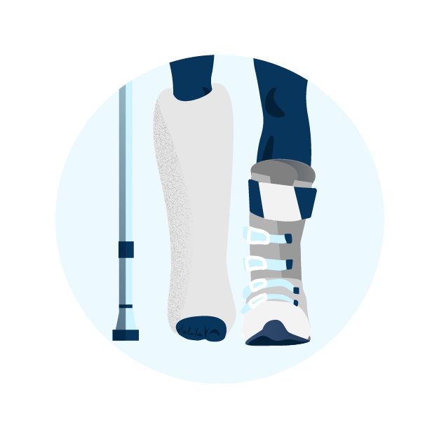 Icon of leg in cast, person in crutches and other foot in ski boot